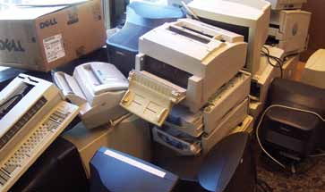 E-waste from building occupants gathered for recycling